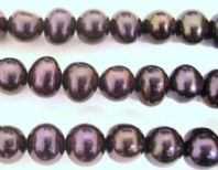 15 Inch Fresh Water Pearl 6-7 Potato Beads  Black
